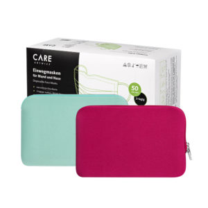 50 Einwegmasken + 2 Masken Sleeves (Mint & Berry)